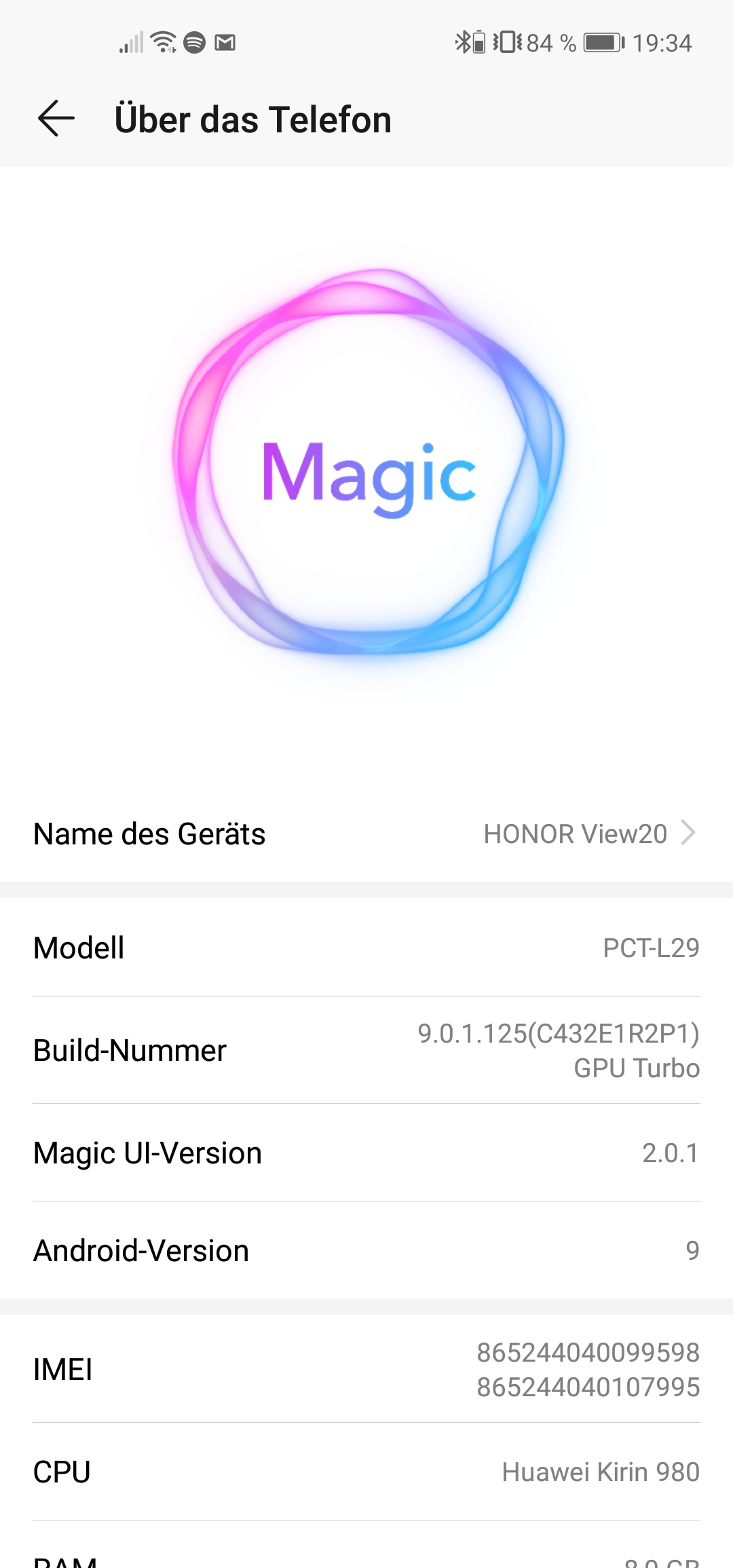 Das Honor View 20 läuft unter Android 9 mit Magic UI 2