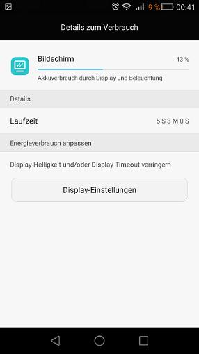Huawei GX8 Displaylaufzeit